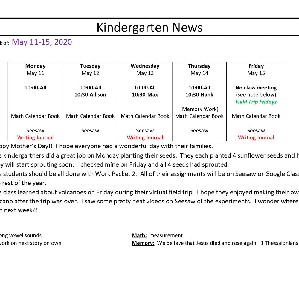 Kindergarten News May 11-15