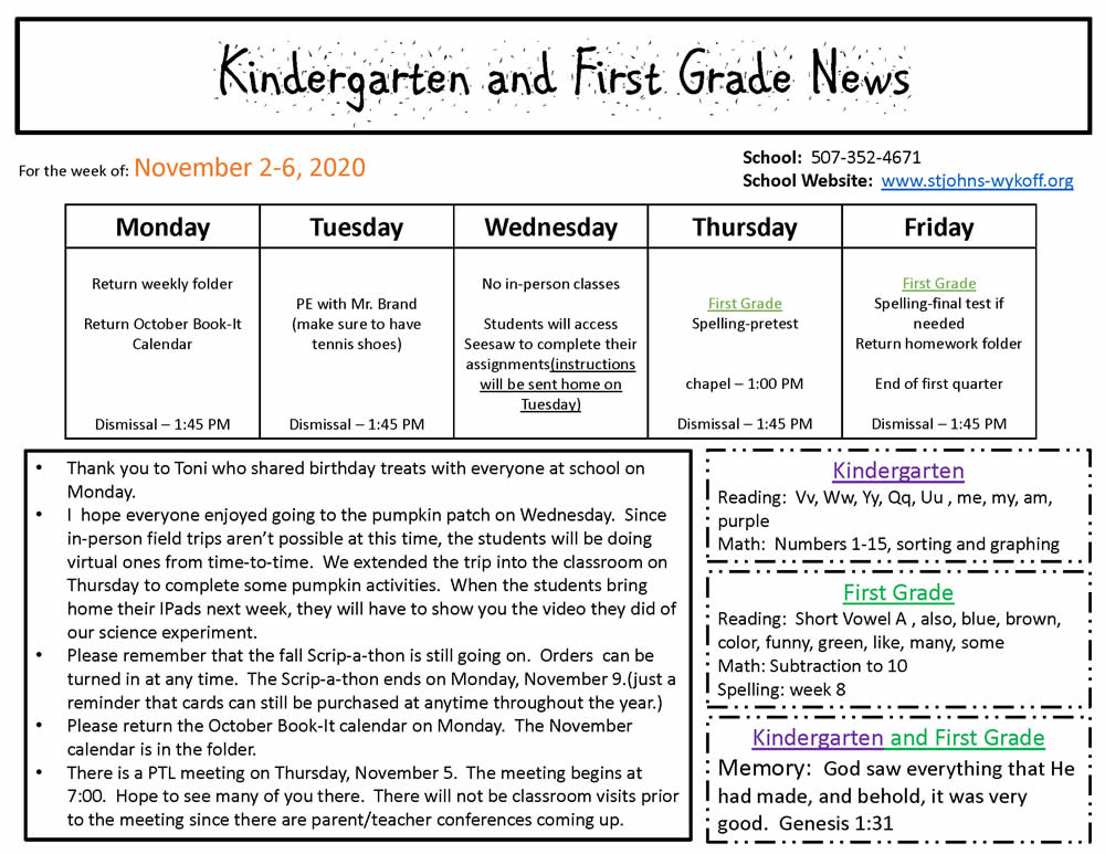 Kindergarten and First Grade News – Nov 2-6