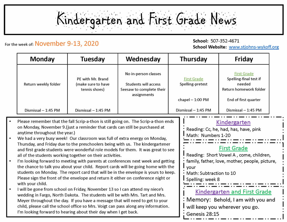 Kindergarten and First Grade News – Nov 9-13