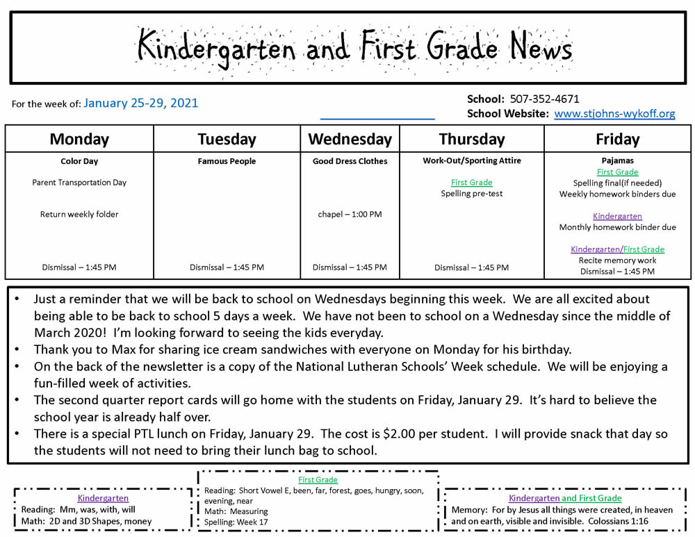 Kindergarten and First Grade News January 25-29