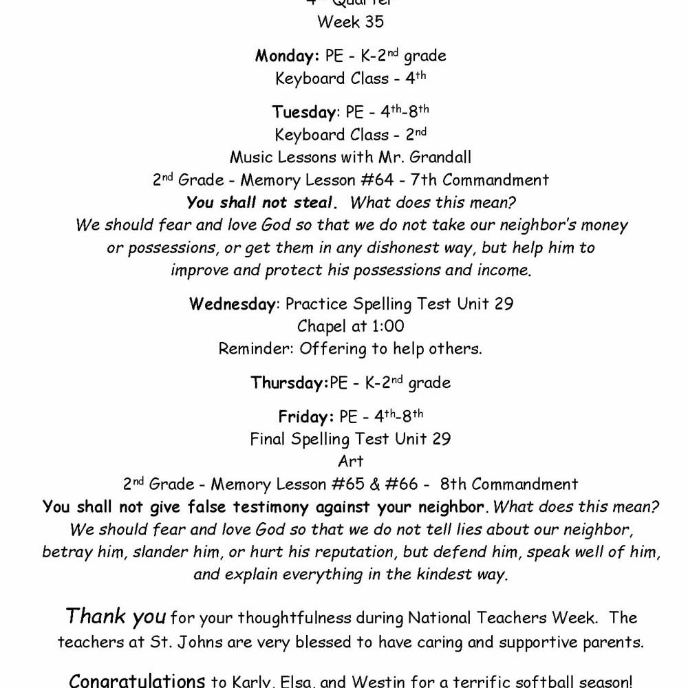 Second and Fourth Grade News – May 10-14