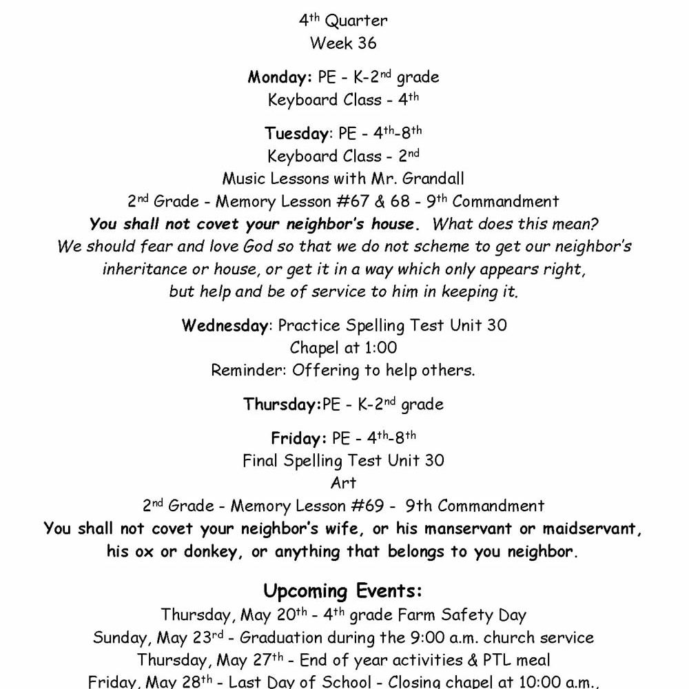 Second and Fourth Grade News – May 17-21